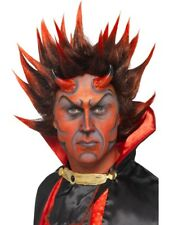 DEVIL PUNK WIG MENS LADIES HALLOWEEN DEVILS FACE DRESS SPIKEY RED AND BLACK WIG