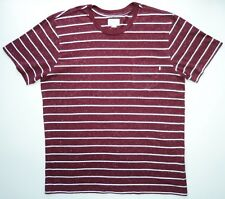 Obey Worldwide Mens L Stripe Pocket T-Shirt Streetwear Dark Brick Red & White