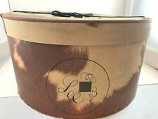 Vintage 1940 Lee Hat Box Rawhide Pattern Brown & Cream W/Yarn Tie 13 1/2 x 15