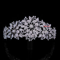 6cm High Elegant Flower Leaf Full Clear Crystal Wedding Party Pageant Prom Tiara