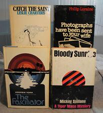 lot 4 vtg old Adventure mystery BLOODY SUNRISE MICKEY SPILLANE TIGER MAN SAINT &