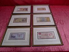 6 Pictures__Framed ,Old Banknotes __ Japan,Peru,Indonesia,Brazil,Guyana,Jug