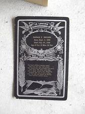 Vintage 1945 Cardboard Funeral Card - Sarah Beiler