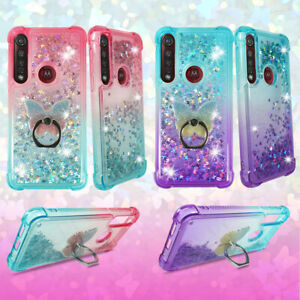 For Moto G8 Plus, G8 Play, One Marco, Liquid Glitter Bling Quicksand Case + Ring