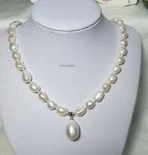 Genuine Baroque freshwater pearls 8-9mm necklace+12-13mm Pendant L46cm