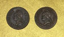 UN CENTIME DUPRE AN 6 A 1798 et AN 7 1799 PARIS / DIRECTOIRE - CUIVRE - LOT
