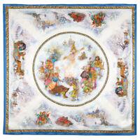 White Silk Pavlovo Posad Shawl 35x35 Square Scarf Russian Winter Maslenitsa Art