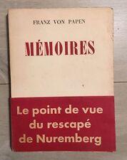 Franz VON PAPEN - Mémoires - Flammarion - 1953