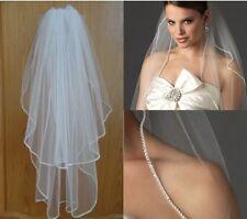 Bridal Wedding Ivory Veil 2 Tier With Comb Crystal Rhinestone Edge Swiss Net