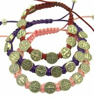 Saint Benedict Evil Protection Medal Bracelet Pink, Purple, Red, Set of 3, 8Inch