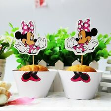 24 PCS MINNIE MOUSE CUPCAKE TOPPERS & WRAPPERS/ PARTY DISNEY BIRTHDAY KIDS