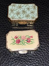 Stratton Pill Box X2 Vintage Floral Print Made In England Travel Accessories