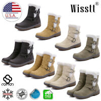 Womens Winter Ankle Boots Snow Fur Warm Insulated Waterproof Ski Shoes Size 5-12