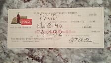 1946 vintage coca cola check to The Miners' National Bank ishpeming, MI Jan 21st