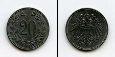 D688 Imperio Austrohungaro 20 heller 1918, Carlos I, hierro Austria Karl I, iron