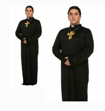 Instant Dress Up Kit Adult Vicar Priest Set Shirt Front Collar Tash Fancy Dress