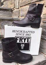 Frye NIB Natalie Short Engineer Black Leather Womens Boots Buckle Size 8 M  $348