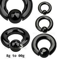 Pair 8G-00G PVD Surgical Steel Spring Loaded Captive Bead Ring Hoop Ears Septum
