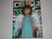 artist trading card miniature art angel painting tiny art dream angel atc aceo