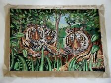 Vintage  50yrs Handmade Large Wool needlepoint Tapestry Jungle Tigers Tiger Cubs