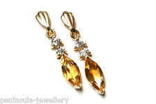 9ct Gold Citrine drop dangly Marquise Style Earrings Made in UK Gift Boxed