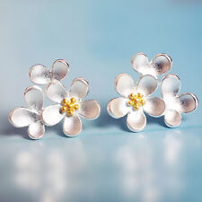 Solid Sterling Silver Cupped Flower Cherry  Blossom Cascade Stud Earrings 2-Tone