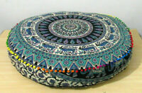 35'' Round Pillow Cover Patchwork Floor Ottoman Pouffe Indian Hand Embroidered