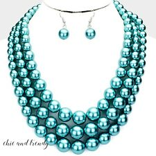 STUNNING BLUE 3 ROW CHUNKY PEARL FASHION NECKLACE JEWELRY SET CHIC & TRENDY