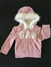 NWT BABY GAP HOLIDAY LINE ARCH LOGO HOODIE FUR AROUND HOOD SHERPA LILNING 18-24
