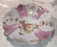 "Antique T L Bavaria Porcelain Bowl Pink Floral Luster Pierced Handles 10 1/2"""