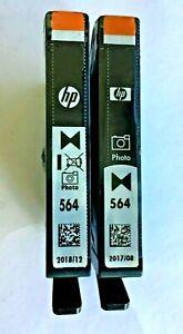 New Genuine 2PK HP 564 Photo Black Ink Cartridges, DeskJet 3520 e-All-in-One