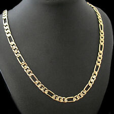 "6mm DIAMOND CUT FIGARO Link 24K 14K GOLD GL 22"" Necklace 
