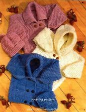 (144) Aran Knitting Pattern for Baby Cardigans Hat & Mittens, 16-24''