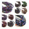 FABRIC COVERED ETHNIC COLOURFUL FLAT CORD JEWELLERY STRING NECKLACE  5mm x 1mm