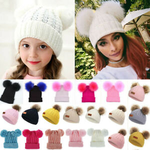 Baby Kids Girl Cute Winter Knitted Solid Beanie Hats Ski Pom Pom Bobble Warm Cap