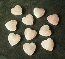 Natural Rose Quartz Crystal Carved Heart Palm Healing Love Fertility Gem Stone