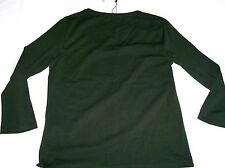 Hobbs Satin Stitch Scoop Neck Top Fern Dark Green Cotton Size L New tags BNWT