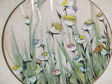 LILYAN BACHRACH ENAMEL COPPER ART PLATE MODERN FLOWER PAINTING RARE SILVER FOILS