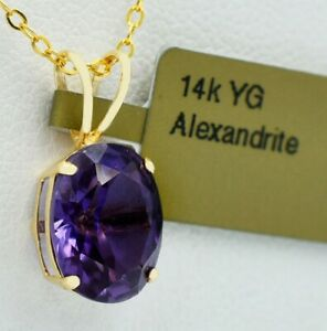 ALEXANDRITE 3.89 Cts PENDANT 14k Yellow Gold * NEW WITH TAG * Made in USA