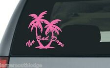 PINK NO BAD DAYS PALM TREES CUT VINYL DECAL TROPICAL PARIDISE COAST LIFE 5 INCH
