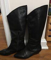 Calvin Klein Women's Riding Boots SZ 6 EU 36.5 Knee High Black Leather Fiona