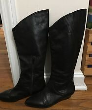 Calvin Klein Women's Riding Boots Knee High Black Leather Fiona SZ 6 EUR 36.5