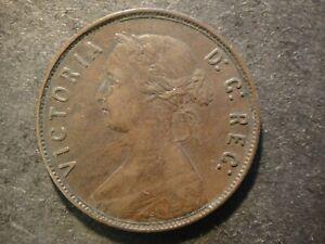 1865 Newfoundland Canada Bronze Large Cent. Queen Victoria. Very Fine/Extra Fine