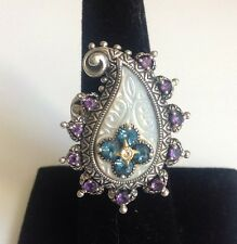 Barbara Bixby Sterling & 18K Mother of Pearl & Amethyst Paisley Ring Size 6