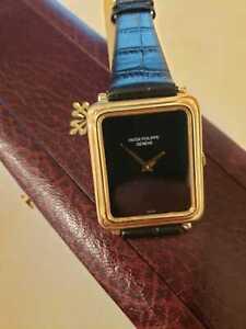 "Vintage Patek Philippe 18K Yellow Gold 3649-1 RARE ONYX DIAL  ""SERVICED"""