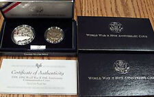 1993 World War Ii 50th 1991-1995 Wwii Proof 2 Coin Silver Dollar and 50c Ww2