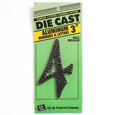 "New Deadstock Vintage 3 1/2"" Die-cast Aluminum House Number 4 Four Hy-ko"