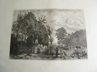 d'ap. Camille COROT (1796-1875) GRAVURE EAU FORTE PAYSAGE VILLE d'AVRAY BARBIZON