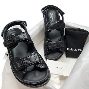 NIB Chanel 2021 Black leather dad sandals 38 EUR size