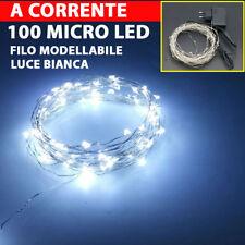 100 MICRO LED DECORAZIONE STRISCIA FILO 9,5 MT LUCI CATENA MICROLED MODELLABILE